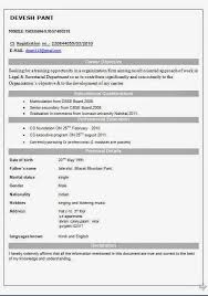One Page Cv Format Resume Format For Students Pursuing Mba