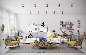 Decorations:Eclectic Interior Of Scandinavian Living Room With Blue And  Yeloow Color Scheme Chevron Yellow