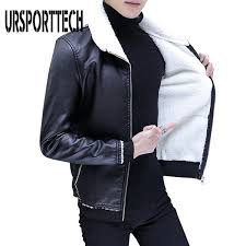 2019 <b>URSPORTTECH</b> Black Winter Fur <b>Leather Jacket</b> Mens Plus ...