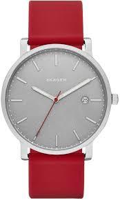 men s skagen red leather strap watch skw6338 loading zoom