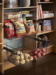 Contemporary Pantry with Hardwood floors, Sliding Wire Basket Drawer -  Chrome - Room Essentials