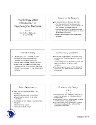 Design Of Experiments Examples Experimental Designs Introduction To Psychological Methods
