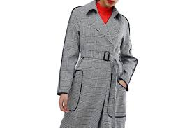 asos checked trench with contrast piping