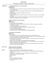 Download Lead Product Engineer Resume Sample as Image file