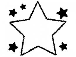 クレヨンで描いた星の白黒フレーム飾り枠イラスト 無料イラスト