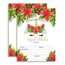 Christmas Birthday Party Invitations Amazon Com Christmas Unicorn Face With Watercolor Poinsettias