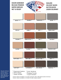 Ready Seal Color Chart Color Charts Super Stone Inc