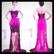 Grace Karin High Low Evening Dress Pink Black Nwt