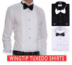 Black Designer Dress Shirt Details About Berlioni Mens Tuxedo Wing Tip Dress Shirt With Bowtie In Black And White