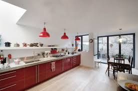 red pendant light Kitchen Contemporary with clear dining pendant concrete.  Image by: Gort Scott