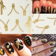 20 Kusů Dekorace Na Nehty V Designu Zipu Zlatá Barva