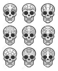 Calavera Or Sugar Skull Tattoo Set For Mexican Day Of The Dead
