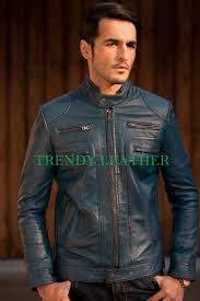young mens navy blue stylish fashionable real leather bikers jacket young mens navy blue stylish fashionable real leather