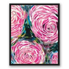 painterly pink flowers  on canvas wall art pink flowers with designs direct 24 in x 30 in painterly pink flowers printed