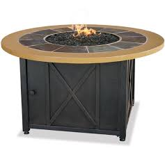 round gas fire pit table. Blue Rhino Uniflame LP Propane Gas Fire Pit Table With Round Slate \u0026 Faux Wood Mante O