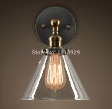 loft wall lamps vintage bedside wall light clear glass lampshade e27 edison bulbs 110v 220v in wall lamps from lights lighting on