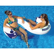noodler 2 inflatable 2 person lounge chair swimming pool toy floats drink holder
