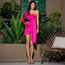 Mila - <b>Sexy Hot</b> Pink One-Shoulder <b>Puff Sleeve</b> Bodycon Party Dress ...