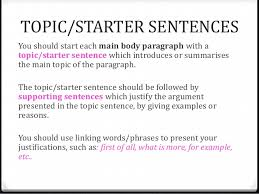 for against essays adapted from ivan conte s presentation topic starter sentences