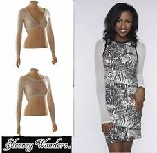 Details About Sleevey Wonders 40103 Long Sleeve Shapewear Sleeves Top Stretch Mesh Bone