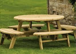 Table De Jardin Ronde Avec Bancs Integres Jsscene Com Des