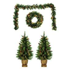Garland With Lights Lowes Holiday Living Pre Lit Front Door Decoration Kit With