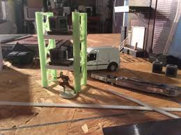 made from parts of a glow in the dark train bridge figured if i make a large warehouse interior then i might have these shelves in there