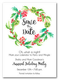 Red Save The Date Cards Red Berries And Greens Wreath Holiday Save The Date Cards