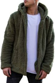 <b>Men</b> Fuzzy Open Front Hooded <b>Jacket</b> Cardigan <b>Jacket Coat</b> Outwear
