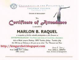 Example Of Certificate Of Attendan Epic Sample High School