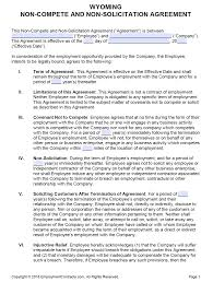 Free Wyoming Non Compete Non Solicitation Agreement Pdf
