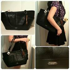 new coach black leather carrie tote