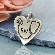a6082 sv chrm silver rn heart charm with stethoscope medical charm