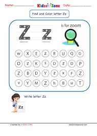 Phonics worksheets, letter sound worksheets. Kindergarten Letter Z Worksheets Find And Color Kidzezone