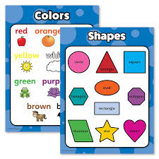 Shapes Chart Images Shapes Colors Poster Chart Set For Kids Laminated Double Sided 18x24