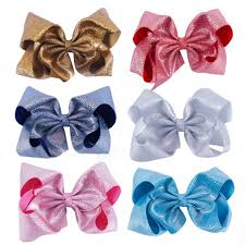 details about 7 inch large solid glitter leather hair bows with clips hairgrips for kids girls