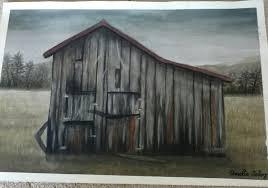 creepy old barn watercolor painting