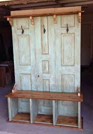 Entry Hall Bench With Coat Rack Best Hall Tree Coat Hanger With Storage Bench Use Two Doors To Make Into