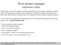 Gallery Of Hvac Project Manager Experience Letter Hvac Marketing