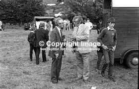 Milton McGrath Lacklum Ballintra Co Donegal Ireland (right) meets a friend  at Ardara Show August 1982 | Images4media
