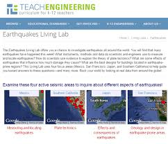 earthquakes living lab the theory of plate tectonics activity screen capture image of a website page shows maps of four active seismic areas