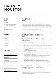 Modern Resume Builder For Sales Corporate Sales Manager Resume Writing Guide 12 Examples