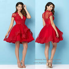 2016 Christmas Puffy Red Homecoming Short Dress For Party Lace Semi Formal  Cocktail Dresses Deep V Neck Appliques S046 Girls Homecoming Dresses  Gordmans ...