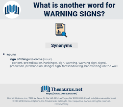 another word for warning synonyms for warning signs thesaurus net