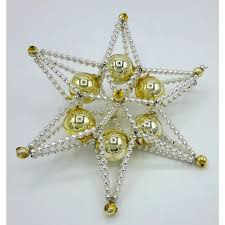 Gablonzer Christbaumschmuck Stern Silbergold 16 Cm