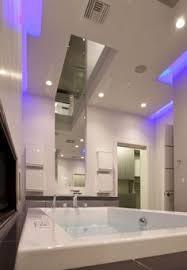 led lighting in bathroom. Bathroom, Large Mirror, Blue LED Lighting, Hurtado Residence In Las Vegas  By Mark Tracy Of Chemical Spaces Led Lighting Bathroom