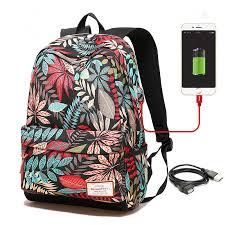 Women USB charging <b>laptop backpack</b> for <b>teenage</b> girls <b>school</b> ...