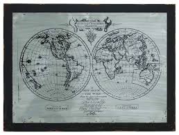 metal wood wall art black frame silver world map atlas pattern decor