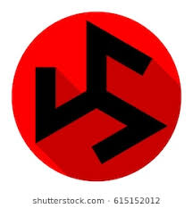 triskelion symbol ancient vector flat black icon with flat shadow on red circle