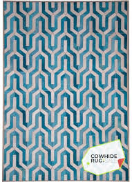 geometric blue cowhide rug